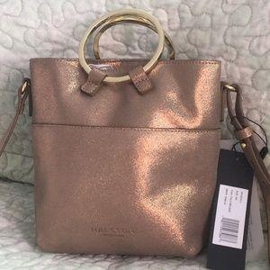 Halston Heritage Metallic Leather Xbody Bucket Bag